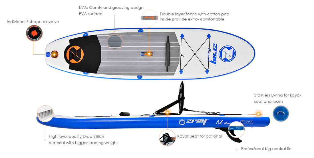 Zray A2 Premium inflatable standup paddle board - features