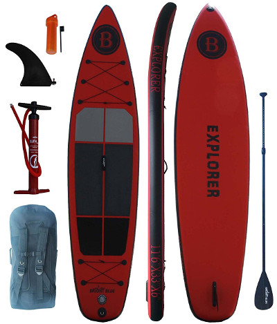 """bright blue explorer 11'6"""" inflatable stand up paddle board review"""