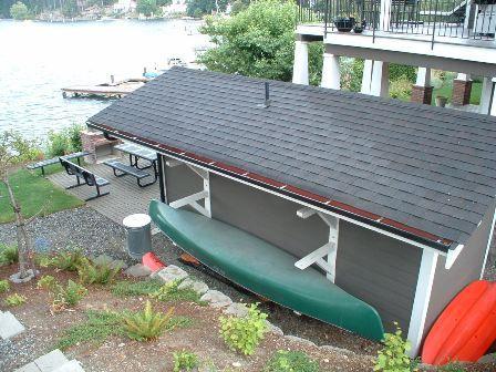 Kayak near garage
