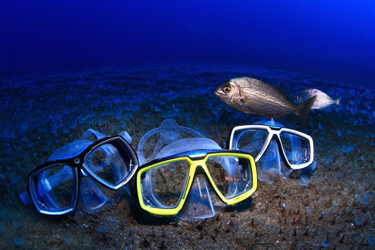 three scuba masks under the water with the fish