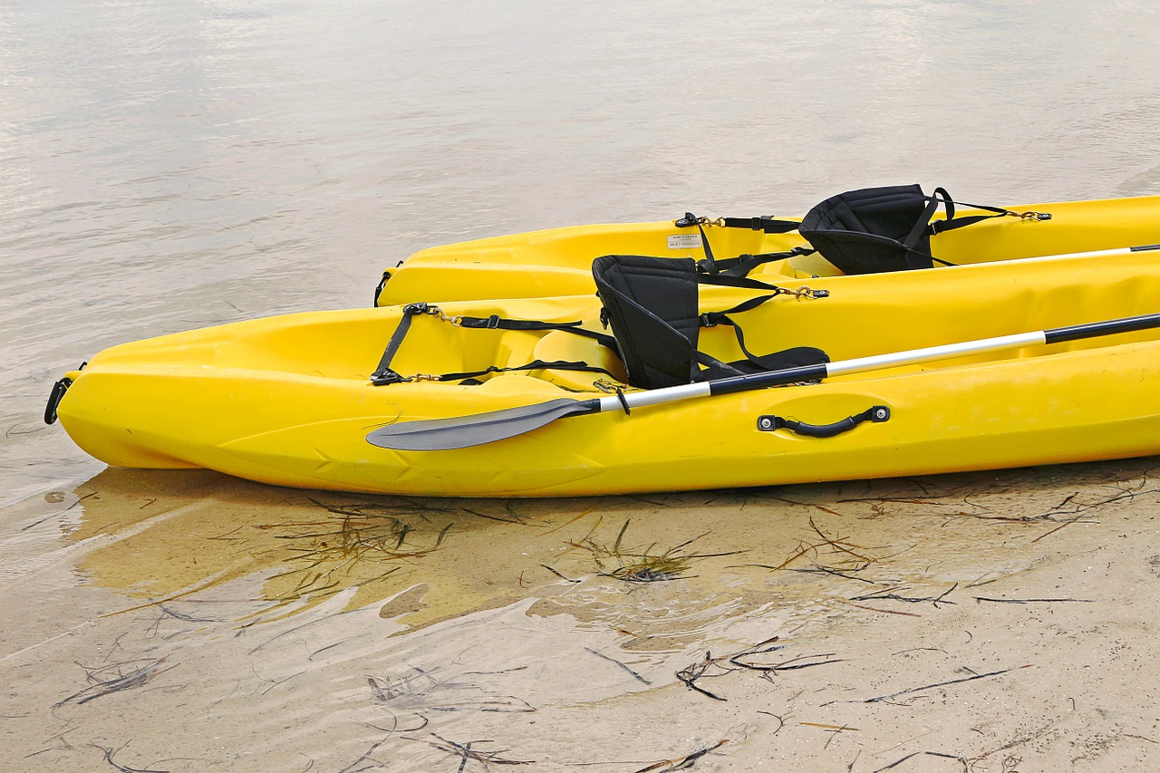 two yellow kayak on the shore
