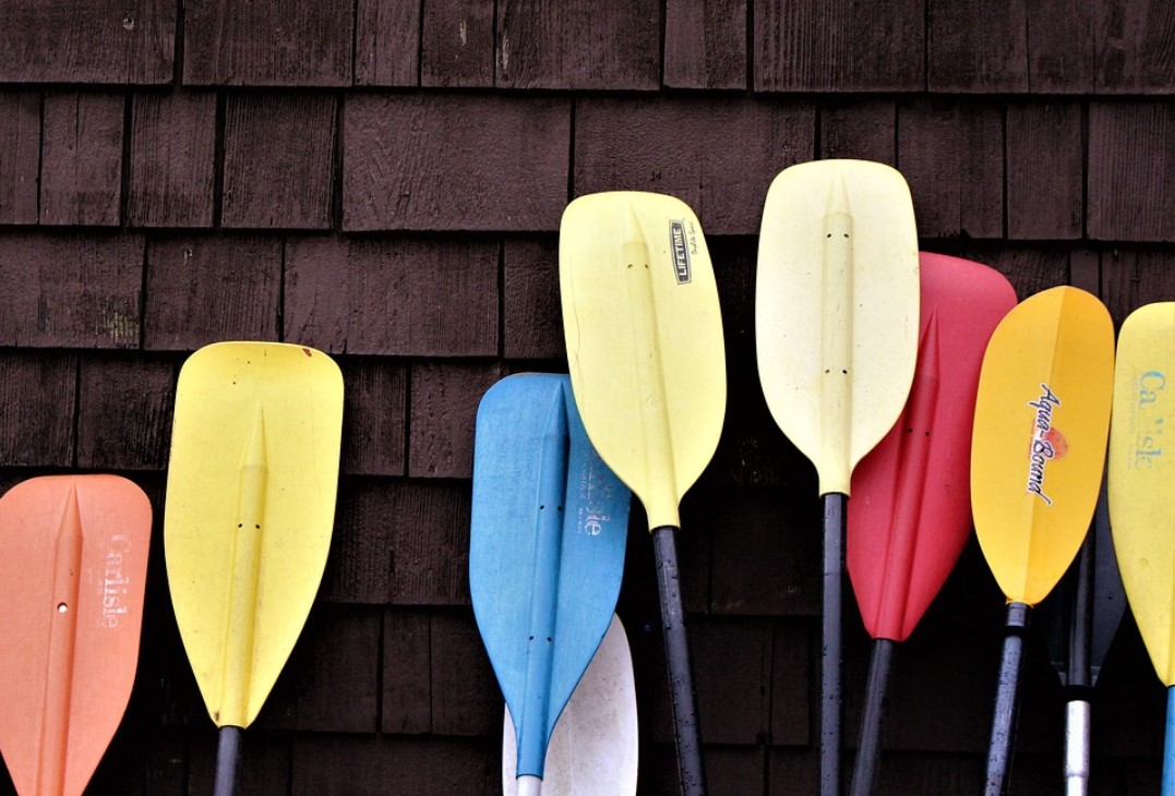 different kayak paddles leaning against a wall