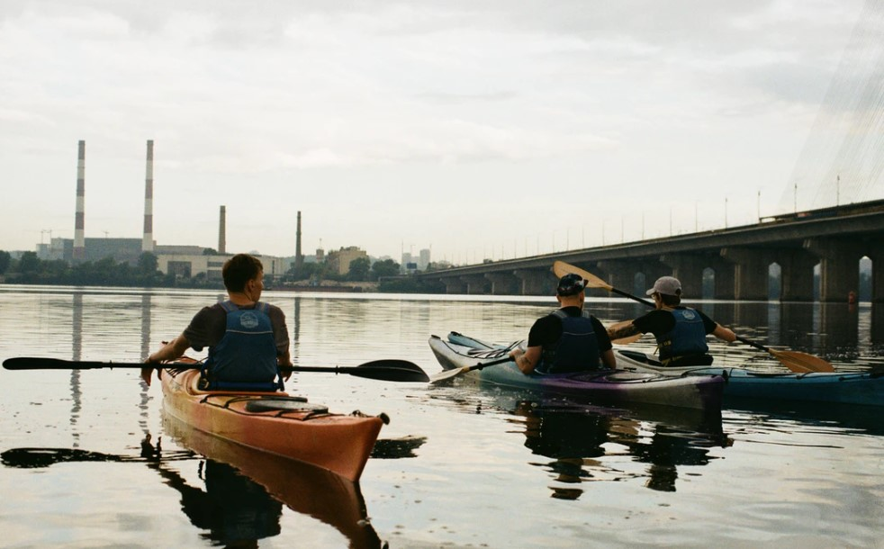 recreational kayakers on a bay